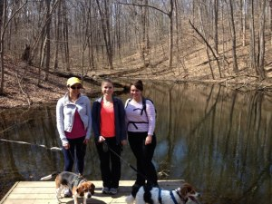 My cousin, my sister and I and the dogs at one end of the PHT at Riverbend Park.